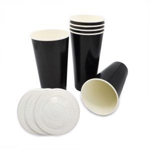 แก้วกระดาษ-สีดำ+ฝา-22-ออนซ์