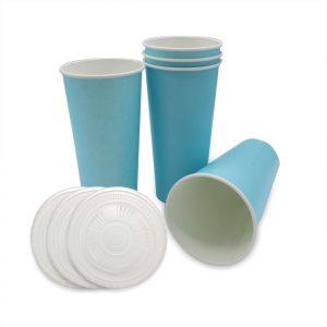 แก้วกระดาษ-สีฟ้าพาสเทล+ฝา-22-ออนซ์