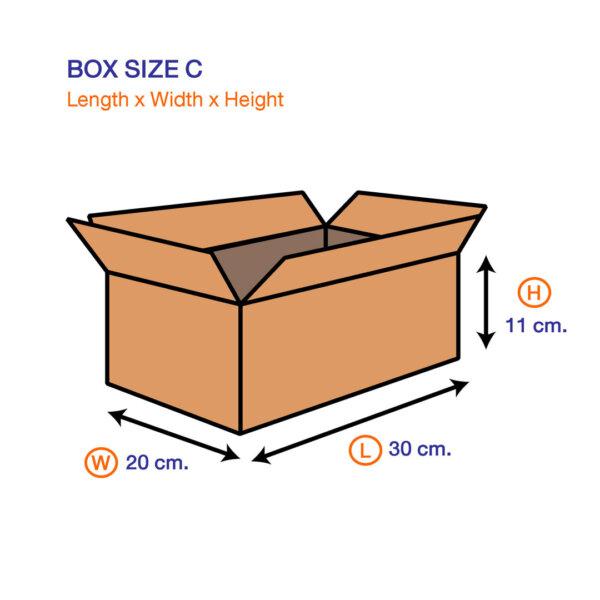 กล่องไปรษณีย์ C ขนาด 30 x 20 x 11 ซม. kt