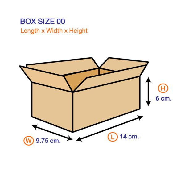 กล่องไปรษณีย์ 00 ขนาด 14 x 9.75 x 6 ซม.