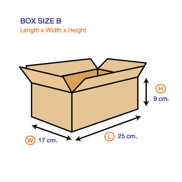 กล่องไปรษณีย์ B ขนาด 25 x 17 x 9 ซม.