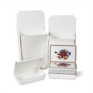 กล่องกระดาษใส่อาหาร ลายดอกไม้ ไซส์ S