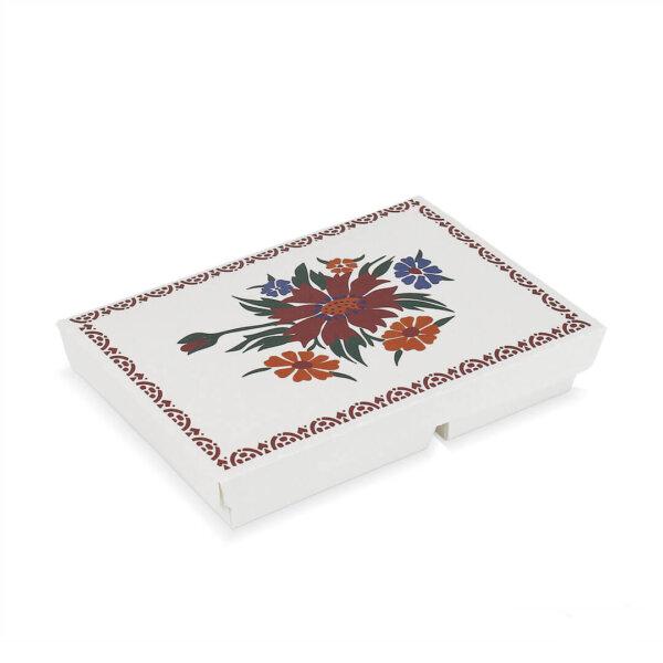 กล่องกระดาษใส่อาหาร 2 ช่อง ลายดอกไม้