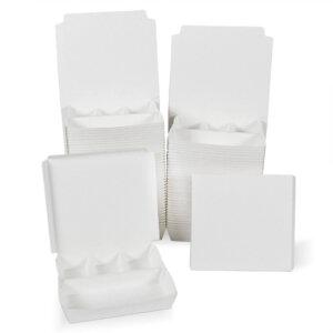 กล่องกระดาษใส่อาหาร 4 ช่อง สีขาว
