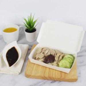 กล่องกระดาษใส่อาหาร สีขาว ไซส์ S