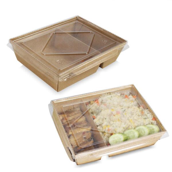 กล่องไฮบริด กล่องฝาปิด 2 ช่อง 40 oz / 1200 มล.