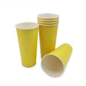 แก้วกระดาษ สีเหลืองเลมอน 22 ออนซ์