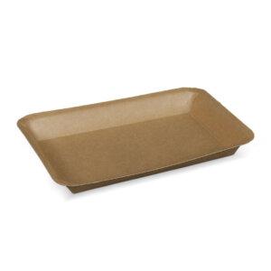 ถาดกระดาษ สีน้ำตาลธรรมชาติ No.5 ขนาด 17×12.5×2 ซม.