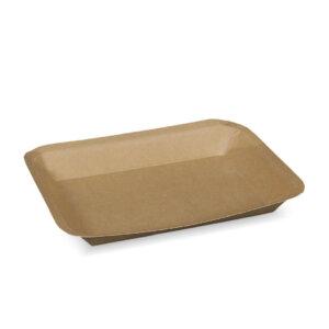 ถาดกระดาษ สีน้ำตาลธรรมชาติ No.2 ขนาด 20.5×16.7×2.1 ซม.(450 ml)