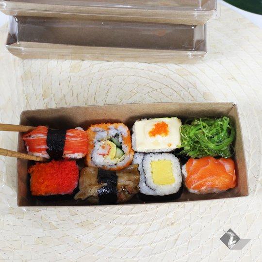 กล่องกระดาษใส่ขนม สีน้ำตาลธรรมชาติ 19x8.5x3.4 ซม.