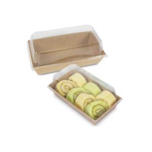 กล่องใส่ขนม กล่องซูชิ กล่องเบเกอรี่ ขนาด 400 ml + ฝาปิด