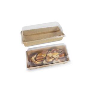 กล่องใส่ขนม กล่องซูชิ กล่องเบเกอรี่ ขนาด 450 ml + ฝาปิด