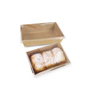 กล่องใส่ขนม กล่องซูชิ กล่องเบเกอรี่ ขนาด 900 ml + ฝาปิด