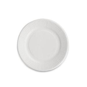 จานกระดาษกลมสีขาว Bio 6 นิ้ว