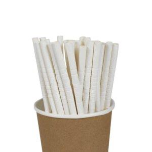 หลอดกระดาษดูดน้ำ งอได้ สีขาว