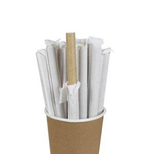 หลอดกระดาษ ชาไข่มุก สีน้ำตาลธรรมชาติ(ห่อซองกระดาษ)