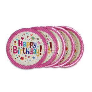 จานกระดาษสีชมพู 7 นิ้ว ลายจุด Happy birthday