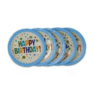 จานกระดาษสีฟ้า 7 นิ้ว ลายจุด Happy birthday