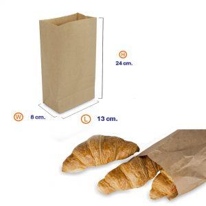 ถุงกระดาษคราฟท์สีน้ำตาล 13x8x24 cm(ยxกxส)