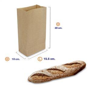 ถุงกระดาษคราฟท์สีน้ำตาล 15.5x10x30 cm(ยxกxส)