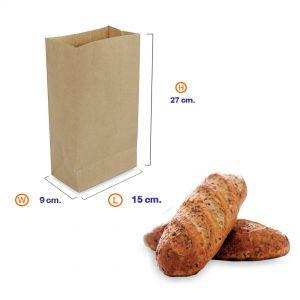 ถุงกระดาษคราฟท์สีน้ำตาล 15x9x27cm(ยxกxส)
