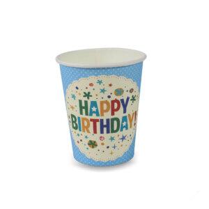 แก้วกระดาษสีฟ้า 8 ออนซ์ ลาย Happy Birthday