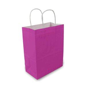 ถุงกระดาษคราฟท์มีหูหิ้ว สีชมพูบานเย็น เทียบไซส์ร้านกาแฟดัง