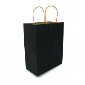 ถุงกระดาษคราฟท์มีหูหิ้ว สีดำ เทียบไซส์ร้านกาแฟดัง