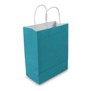 ถุงกระดาษคราฟท์มีหูหิ้ว สีฟ้า เทียบไซส์ร้านกาแฟดัง