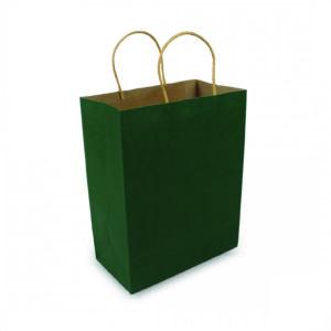 ถุงกระดาษคราฟท์มีหูหิ้ว สีเขียวเข้ม เทียบไซส์ร้านกาแฟดัง