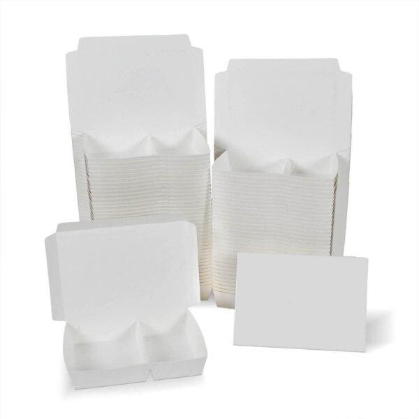 กล่องกระดาษใส่อาหาร 2 ช่อง สีขาว