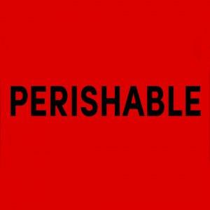 สติ๊กเกอร์คำเตือน PERISHABLE 3X5 นิ้ว
