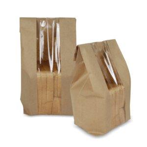 ถุงกระดาษใส่ขนมปัง มีหน้าต่าง ตั้งได้ 31×12 ซม.
