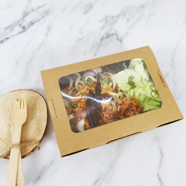 กล่องอาหาร กล่องมีช่อง กระดาษคราฟท์ มีหน้าต่าง 1600 ml