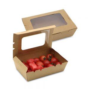 กล่องอาหาร กระดาษคราฟท์ มีหน้าต่าง 1200 ml