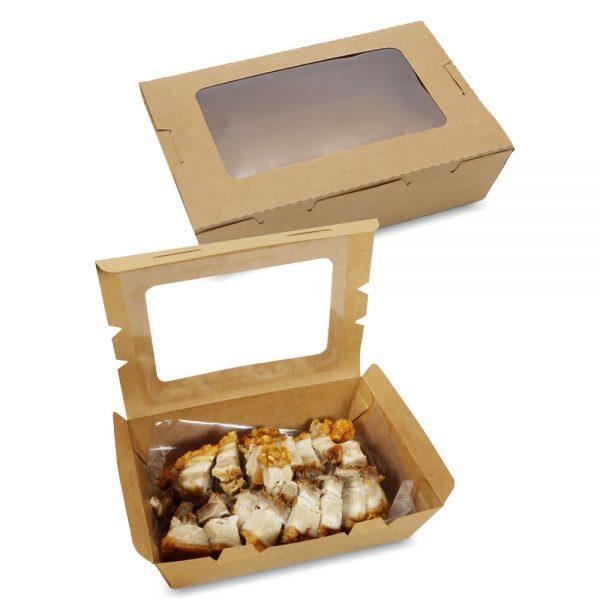 กล่องอาหาร กล่องมีช่อง กระดาษคราฟท์ มีหน้าต่าง 1200 ml