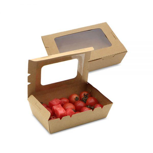 กล่องอาหาร กระดาษคราฟท์ มีหน้าต่าง 900 ml