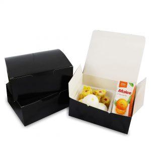 กล่องกระดาษใส่ขนม snack box สีดำ