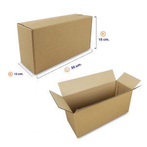 กล่องกระดาษลูกฟูก 3 ชั้น เบอร์ HT1 36x12x18 cm