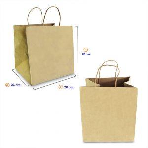 ถุงกระดาษคราฟท์ (Shopping bag) หูหิ้วเกลียว 28x26x28 cm (ยxกxส) ใส่กล่องเค้ก 2 ปอนต์