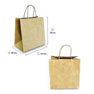 ถุงกระดาษคราฟท์ (Size M) หูหิ้วเกลียว 24x22x26 cm ใส่กล่องเค้ก 1 ปอนต์