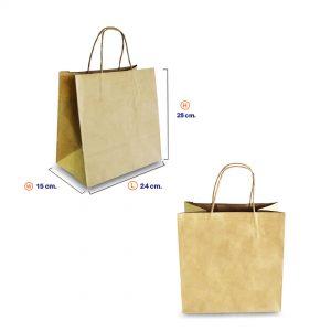 ถุงกระดาษคราฟท์ (Size M) หูหิ้วเกลียว 24x15x25 cm (ยxกxส)