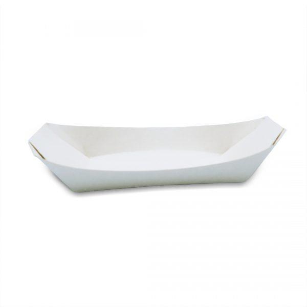 ถาดกระดาษสีขาว ทรงเรือ ขนาด 6 นิ้ว