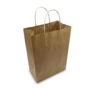 ถุงกระดาษคราฟท์มีหูหิ้ว-สีน้ำตาล-เทียบไซส์ร้านกาแฟดัง-3