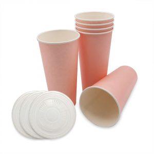 แก้วกระดาษ-สีชมพูพาสเทล+ฝา-22-ออน