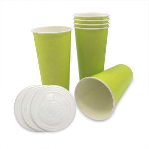 แก้วกระดาษ-สีเขียวมะนาว+ฝา-22-ออนซ์