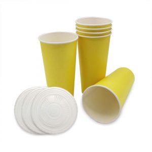แก้วกระดาษ-สีเหลืองเลมอน+ฝา-22-ออนซ์
